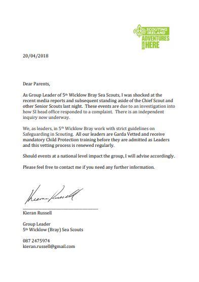 Kieran letter